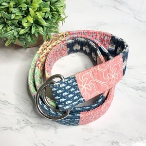 Vineyard Vines patchwork double sided fabric belt